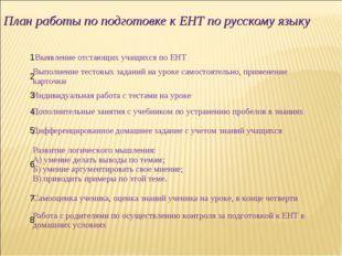 План работы по подготовке к ЕНТ по русскому языку  1 Выявление отстающих уч