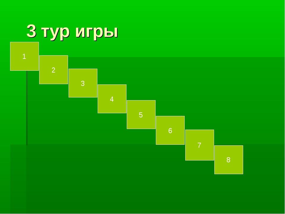 3 тур игры 2 1 3 6 4 5 8 7