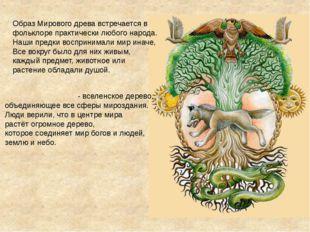 Образ Мирового древа встречается в фольклоре практически любого народа. Наши