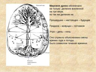 Мировое древо обозначало не только деление вселенной на три мира, но так же д