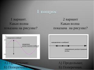 1 вариант. Какая волна показана на рисунке? А) Продольная; Б) Поперечная. 2