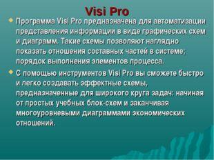 Visi Pro Программа Visi Pro предназначена для автоматизации представления инф
