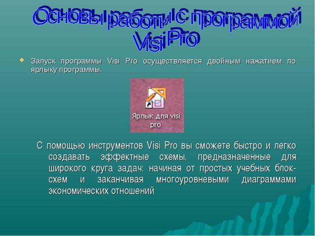 Запуск программы Visi Pro осуществляется двойным нажатием по ярлыку программы...