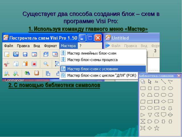 Существует два способа создания блок – схем в программе Visi Pro: 1. Использу...