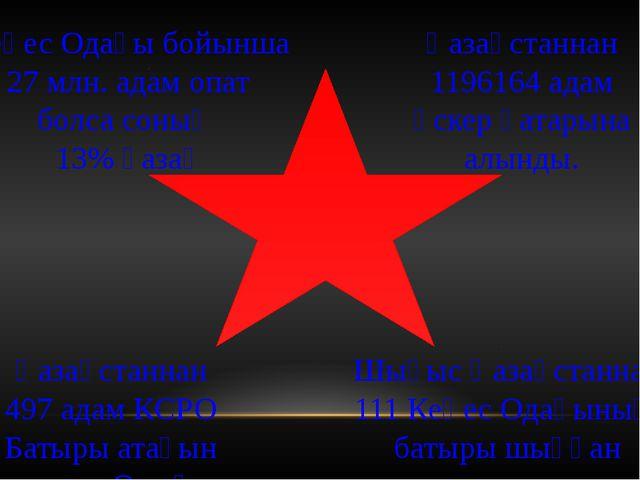 Кеңес Одағы бойынша 27 млн. адам опат болса соның 13% қазақ Қазақстаннан 119...