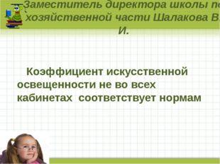 Заместитель директора школы по хозяйственной части Шалакова В. И. Коэффициент