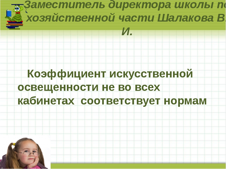 Заместитель директора школы по хозяйственной части Шалакова В. И. Коэффициент...