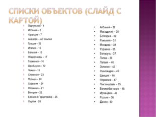 Португалия – 4 Испания – 3 Франция – 7 Андорра – нет ссылки Греция – 33 Итали