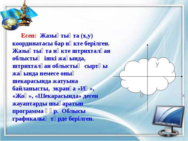 Program Esep1; Var x, y : real; Begin Writeln ('Нүкте координатларын енгіз');...