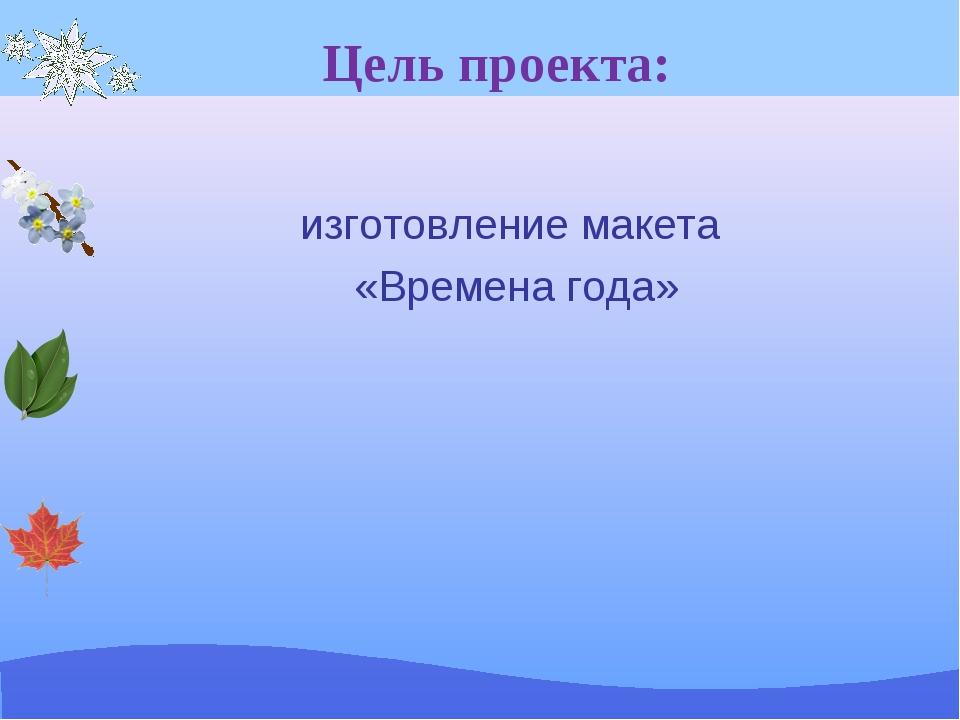 Цель проекта: изготовление макета «Времена года»