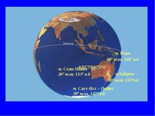 м. Йорк 10° ю.ш. 142° в.д м.Байрон 28° ю.ш. 153°в.д. м. Стип-Поинт 26° ю.ш. 1