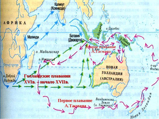 Голландские плавания XVIв. – начало XVIIв. Первое плавание А.Тасмана Второе п...