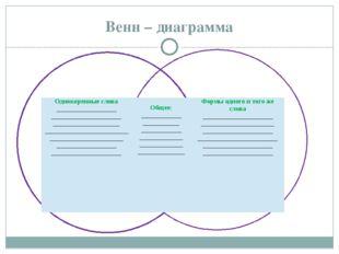 Венн – диаграмма Однокоренные слова __________________ _____________________