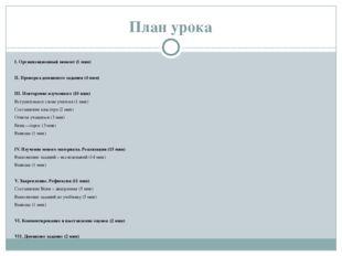 План урока I. Организационный момент (1 мин)  II. Проверка домашнего задания