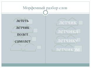 Морфемный разбор слов лететь летчик полет самолет летчик летчика летчику лет