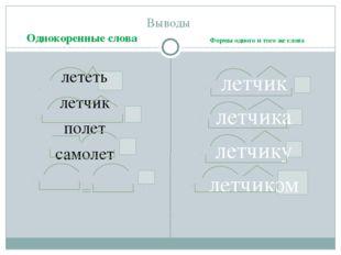 Выводы лететь летчик полет самолет летчик летчика летчику летчиком Однокорен