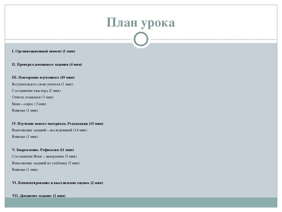 План урока I. Организационный момент (1 мин)  II. Проверка домашнего задания...