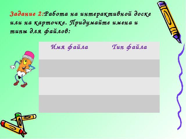Задание 2:Работа на интерактивной доске или на карточке. Придумайте имена и т...