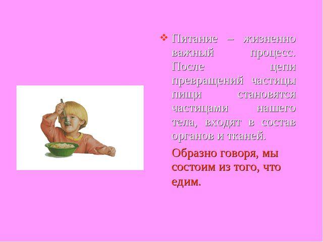 Питание – жизненно важный процесс. После цепи превращений частицы пищи станов...