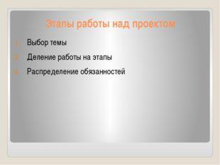 Этапы работы над проектом Выбор темы Деление работы на этапы Распределение об