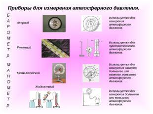 Приборы для измерения атмосферного давления. Б А Р О М Е Т рАнероидИсполь