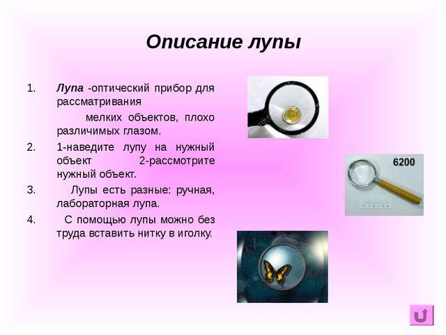 Описание лупы 1. Лупа -оптический прибор для рассматривания мелких объектов,...
