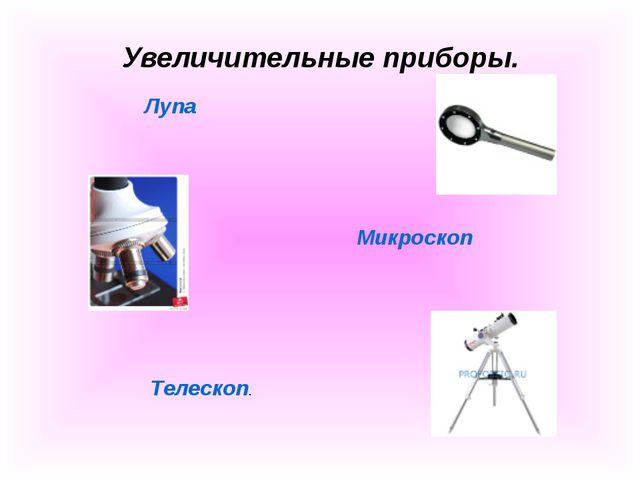 Увеличительные приборы. Лупа Микроскоп Телескоп.