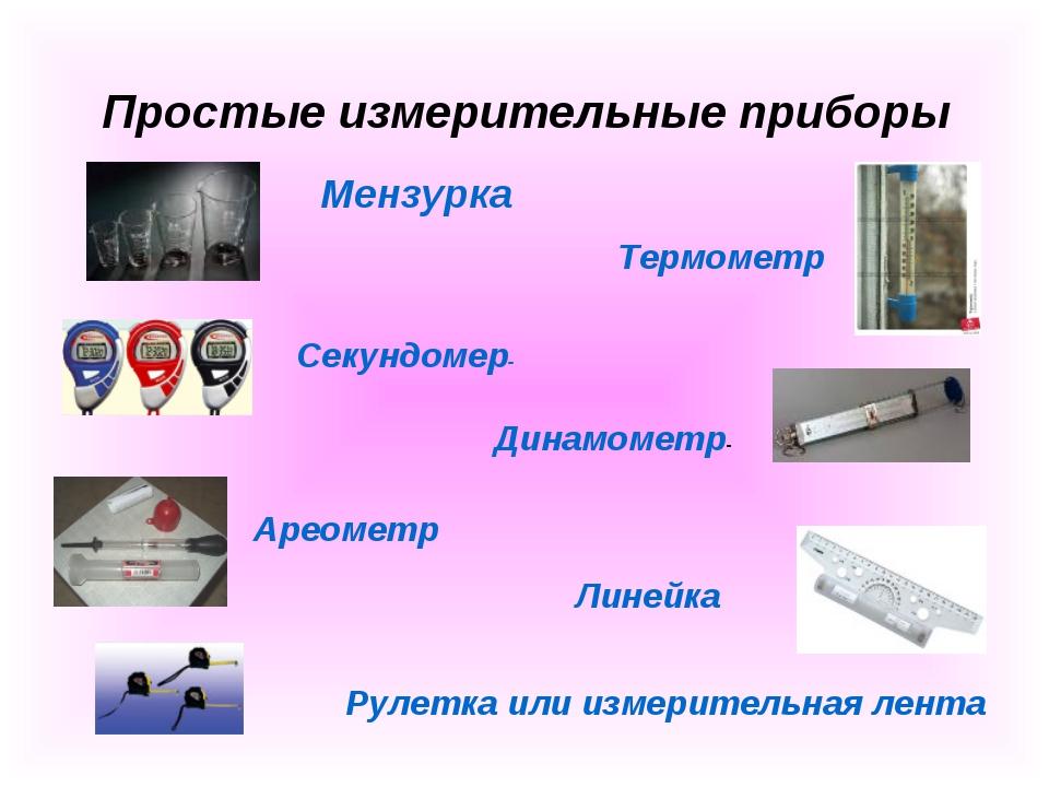 Простые измерительные приборы Мензурка Термометр Секундомер- Динамометр- Арео...