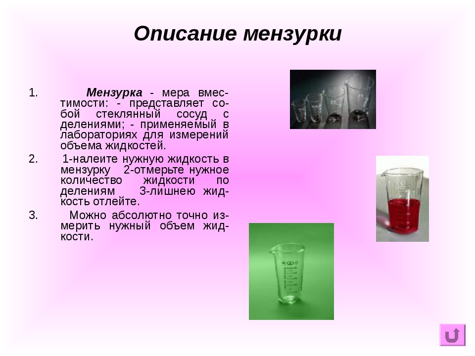 1. Мензурка - мера вмес-тимости: - представляет со-бой стеклянный сосуд с дел...