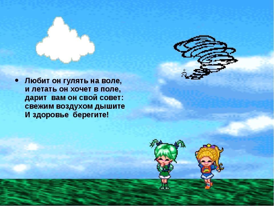 Любит он гулять на воле, и летать он хочет в поле, дарит вам он свой совет: с...