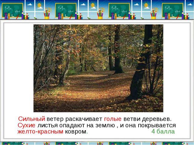 Сильный ветер раскачивает голые ветви деревьев. Сухие листья опадают на земл...