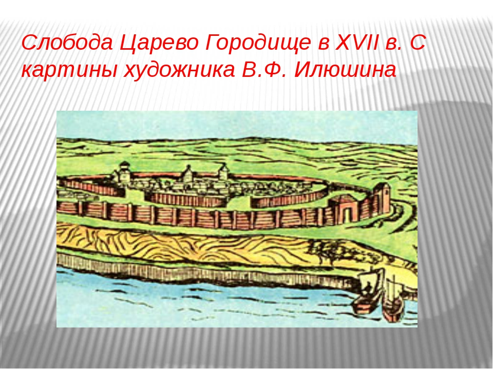 Слобода Царево Городище в XVII в. С картины художника В.Ф. Илюшина