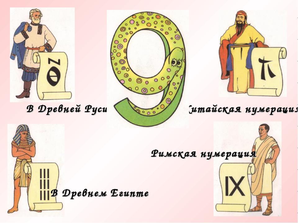 В Древней Руси Китайская нумерация В Древнем Египте Римская нумерация