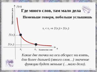 х Количество слов Эффективность дела Какие две точки на оси абсцисс ни взять,