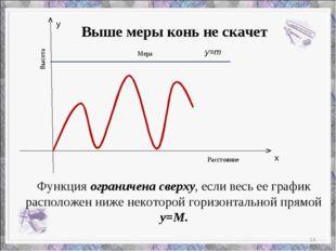 х у Мера Высота Расстояние Функция ограничена сверху, если весь ее график рас