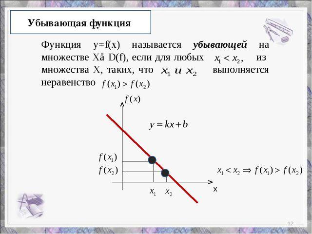 Убывающая функция Функция y=f(x) называется убывающей на множестве Х⊂D(f), ес...