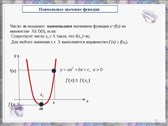 Наименьшее значение функции f(x) y Число m называют наименьшим значением функ...
