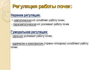 Регуляция работы почек: Нервная регуляция: - симпатическая н/с ослабляет рабо