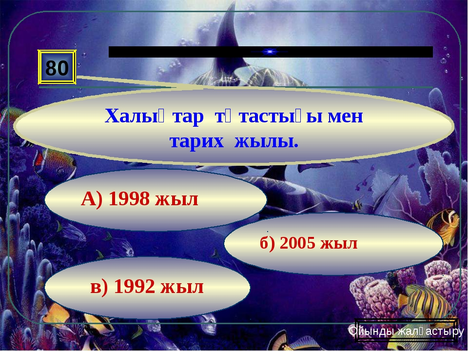 в) 1992 жыл б) 2005 жыл А) 1998 жыл 80 Халықтар тұтастығы мен тарих жылы. Ойы...