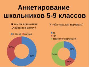 Анкетирование школьников 5-9 классов В чем ты приносишь учебники в школу? У т