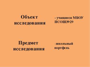 - школьный портфель - учащиеся МБОУ ПСОШ№29 Объект исследования Предмет иссл
