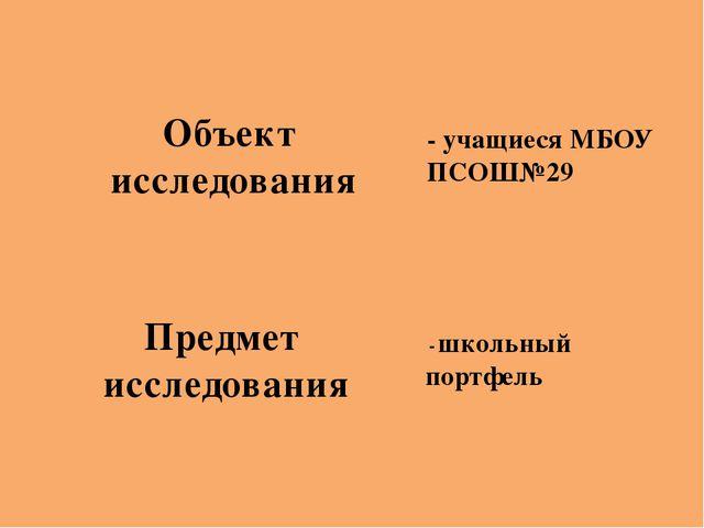 - школьный портфель - учащиеся МБОУ ПСОШ№29 Объект исследования Предмет иссл...