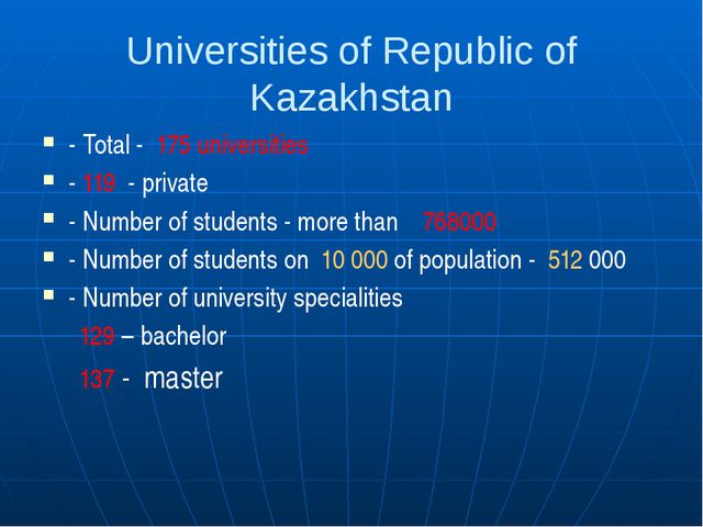 Universities of Republic of Kazakhstan - Total - 175 universities - 119 - pri...