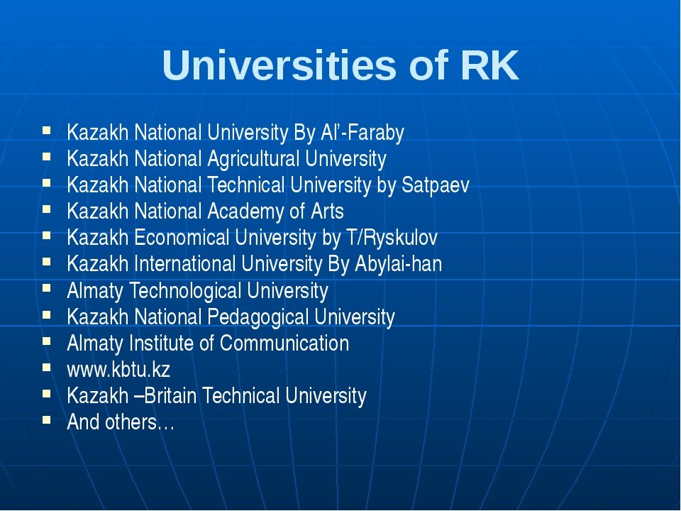 Universities of RK Kazakh National University By Al'-Faraby Kazakh National A...