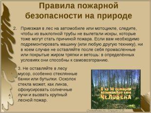 Правила пожарной безопасности на природе Приезжая в лес на автомобиле или мот