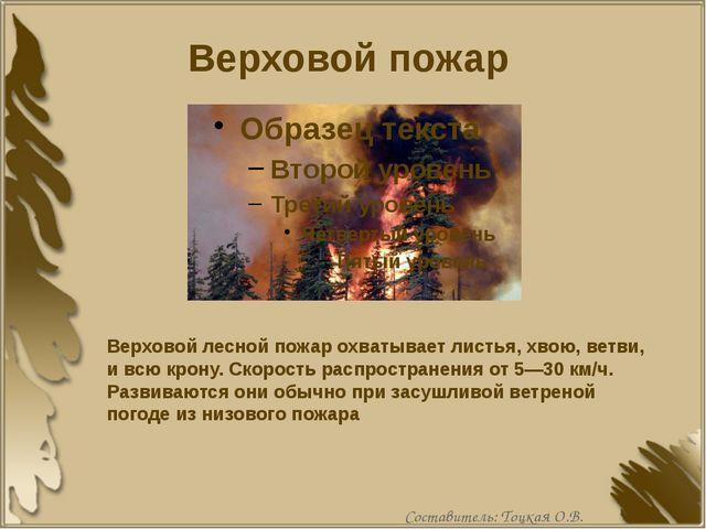 Верховой пожар Верховой лесной пожар охватывает листья, хвою, ветви, и всю кр...
