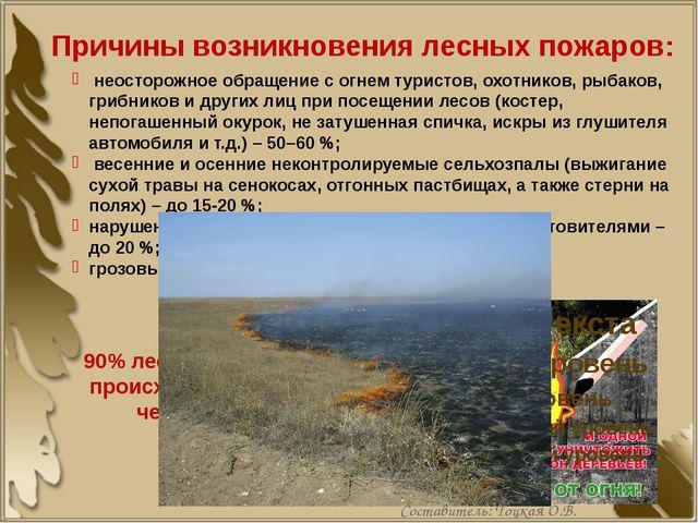 Причины возникновения лесных пожаров: неосторожное обращение с огнем туристов...