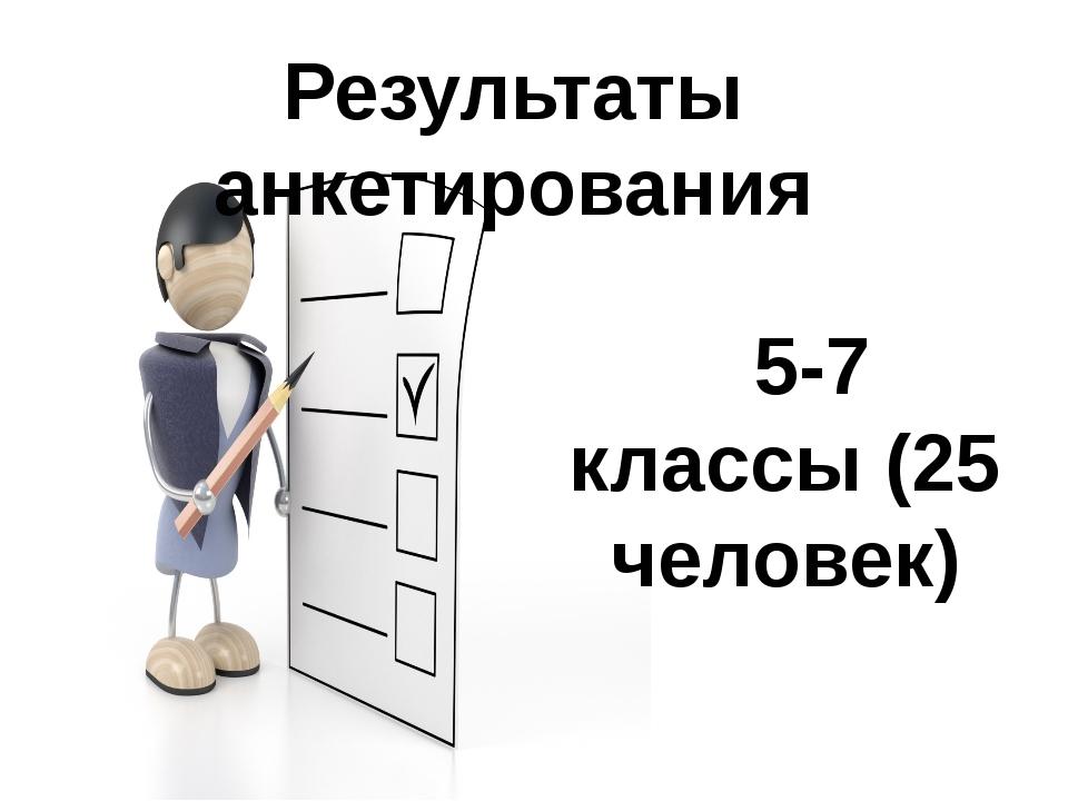 Результаты анкетирования 5-7 классы (25 человек)