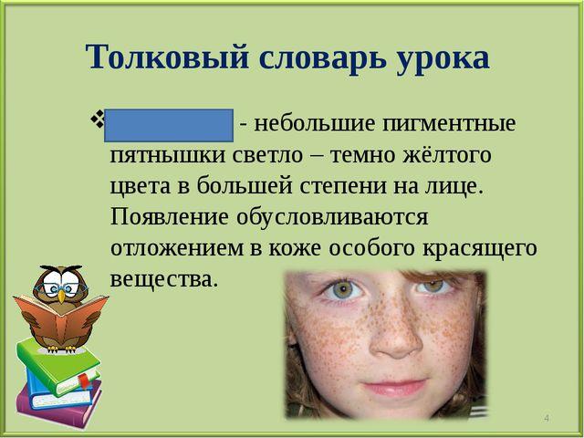Толковый словарь урока Веснушки - небольшие пигментные пятнышки светло – темн...