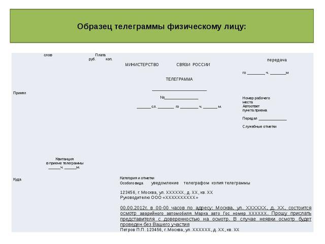 Образец телеграммы физическому лицу: слов Плата  МИНИСТЕРСТВОСВЯЗИ РОССИИ ...